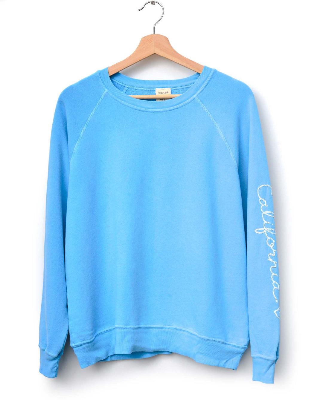 NEON BLUE  L/S SWEATS WITH CUSTOM HAND EMBROIDERY ON SLEEVE