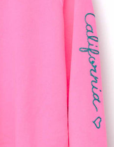 NEON PINK  L/S SWEATS WITH CUSTOM HAND EMBROIDERY ON SLEEVE