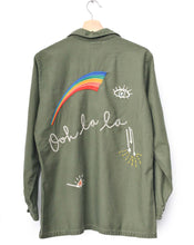 Ooh la la and Peace Sign Embroidered Vintage Army Jacket