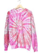 TIE DYE PINK SWIRL L/S SWEATS WITH CUSTOM HAND EMBROIDERY