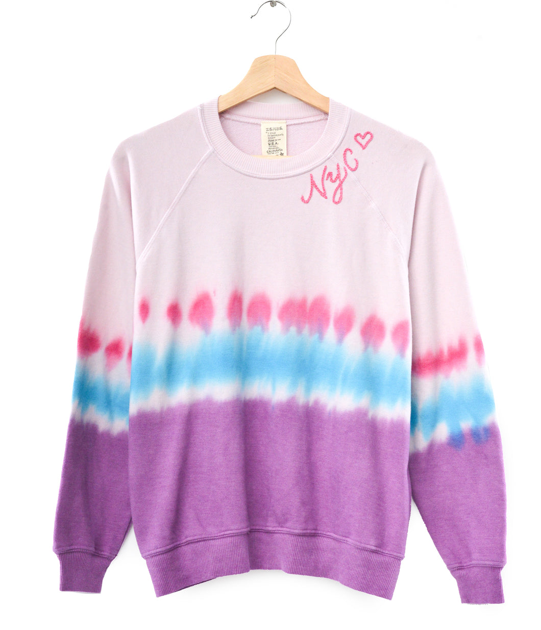 TIE DYE PINK L/S SWEATS WITH CUSTOM HAND EMBROIDERY