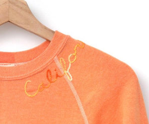 ORANGE VINTAGE SWEATS WITH CUSTOM HAND EMBROIDERY