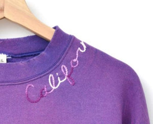 PURPLE VINTAGE SWEATS WITH CUSTOM HAND EMBROIDERY