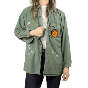 PEACE SIGN EMBROIDERY / NO WAR PRINTED BACK MILITARY JACKET