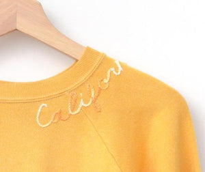YELLOW VINTAGE SWEATS WITH CUSTOM HAND EMBROIDERY