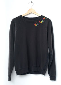 Be Happy Sweatshirt - Washed Black