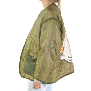 VINTAGE US MILITARY M-65 FIELD JACKET LINER WITH VINTAGE US ARMY PILLOWCASE BACK