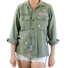 ALL OVER FLOWER HAND EMBROIDERY U.S. ARMY BDU SHIRT
