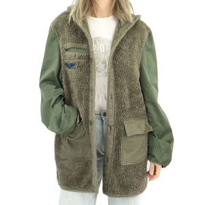 NO WAR EMBROIDERY FURRY LINER JACKET