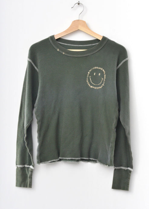 Smiley Face Thermal Tee L/S-Washed Olive