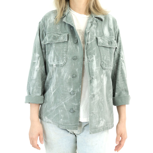 ALLOVER DRY BRUSHED PAINT ARMY SHIRT JACKET-SAGE