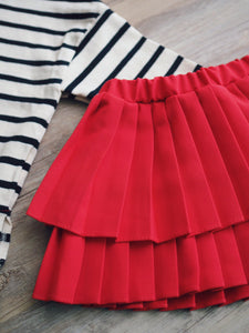 RED DOUBLE PLEATED SKIRT