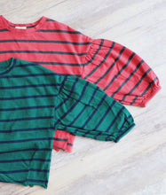 STRIPES TEE WITH PUFF SLEEVES