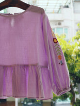 LAVENDER BLOUSE WITH EMBROIDERY SLEEVES