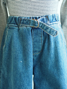 DENIM CULOTTES WITH BUCKLE DETAIL