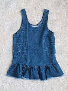 DENIM RIBBON HEM DRESS