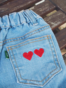 HEART PRINT DENIM SHORTS