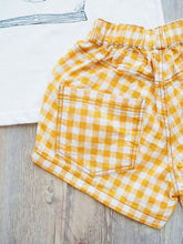 YELLOW CHECKED SHORTS WITH POCKETS