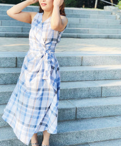 Checkered Sleeveless Wrap Dress