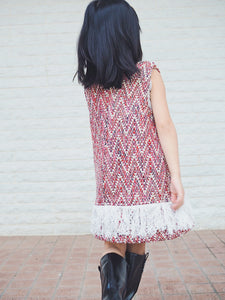 RED TWEED DRESS WITH FRINGED HEM