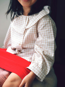 BEIGE CHECKERED BUTTON BLOUSE