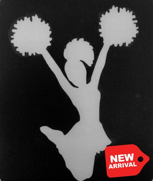 Tag Cheerleader Glitter Tattoo Stencil - Decorative