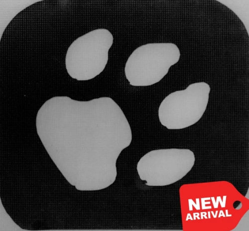 Tag Paw Print Glitter Tattoo Stencil - Animals