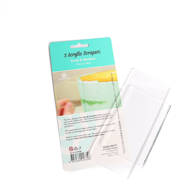 Sugar Crafty CLEAR ACRYLIC SCRAPERS (SET OF 2 - SMALL & MEDIUM)