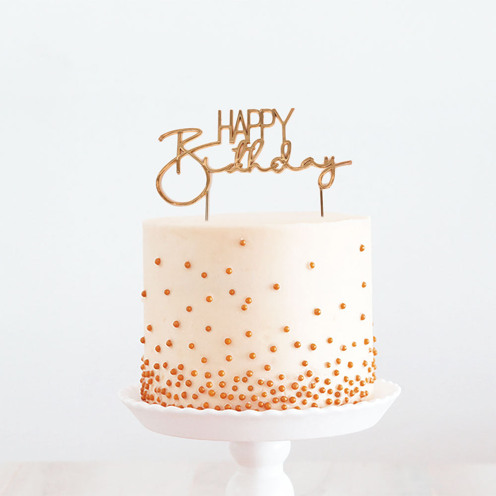 ROSE GOLD METAL CAKE TOPPER - HAPPY BIRTHDAY