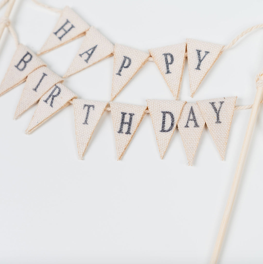 Wooden Happy Birthday Cake Topper (Flag)