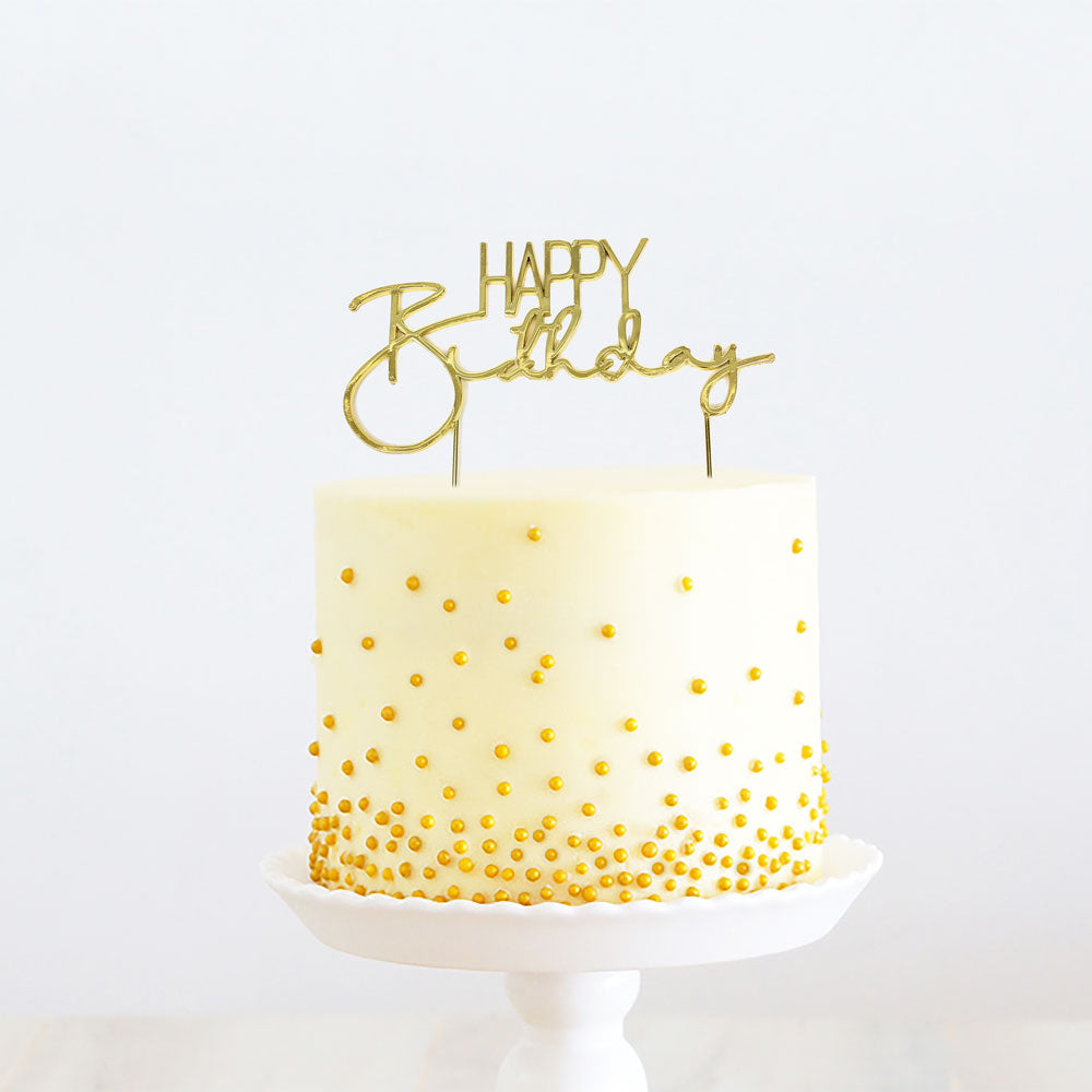 GOLD Metal Cake Topper - HAPPY BIRTHDAY