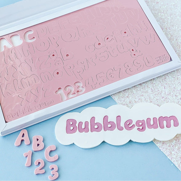 BUBBLEGUM, UPPERCASE, LOWERCASE, NUMBERS & SYMBOLS