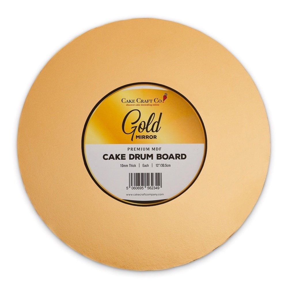 GOLD Mirror Round Premium Masonite Cake Board Drum