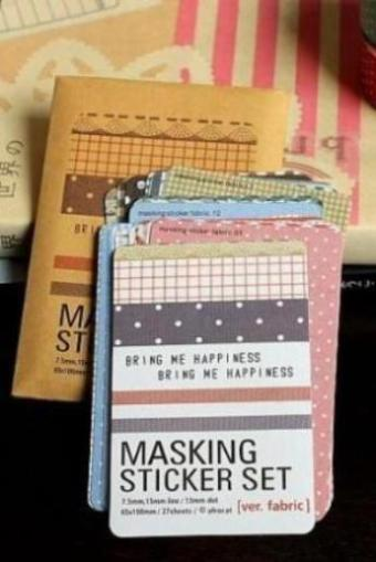 Kawaii Kraft Paper Masking Planner Sticker set - Fabric