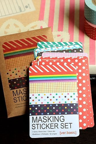 Kawaii Kraft Paper Masking Planner Sticker set - Basic