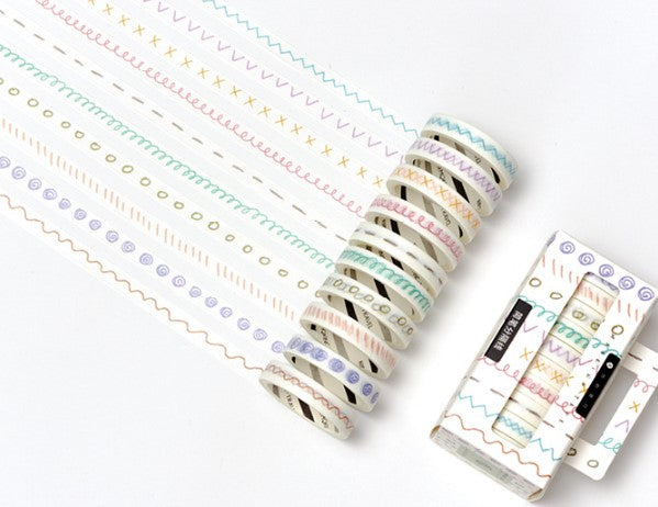Kawaii Washi Bujo Planner Masking Tape - Salty Pastel - Simple Seperator [10 rolls]
