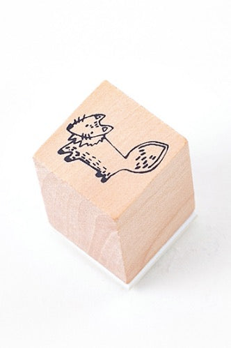 Lovely Wooden Rubber Stamp - Little Forest - fox