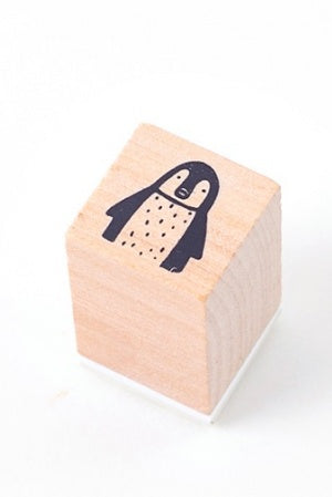 Lovely Wooden Rubber Stamp - Little Forest - Pinguin