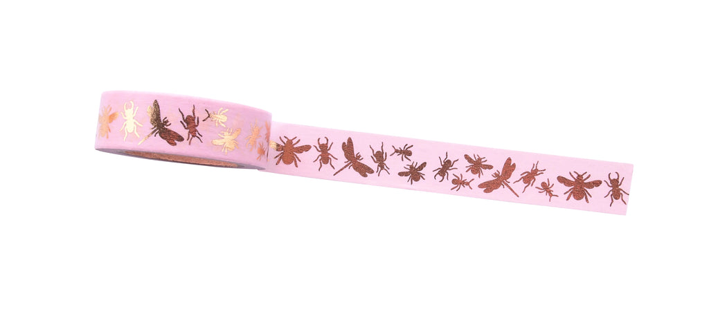 Masking tape 15mm - insects gold