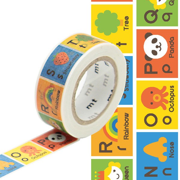 Masking tape 15mm - Mt Kids - Alphabet N-Z