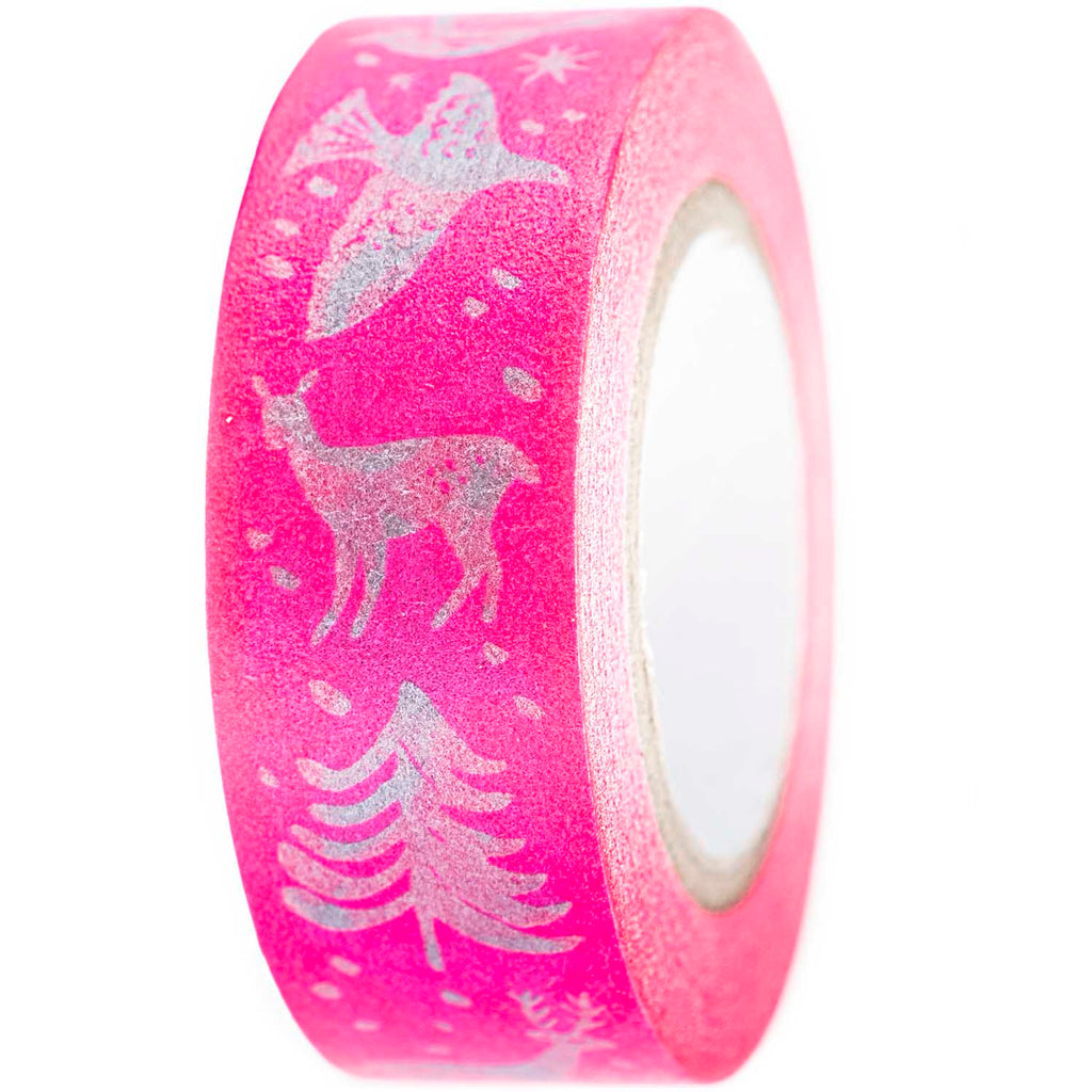 Masking tape 15mm - Nostalgic Christmas - fuchsia
