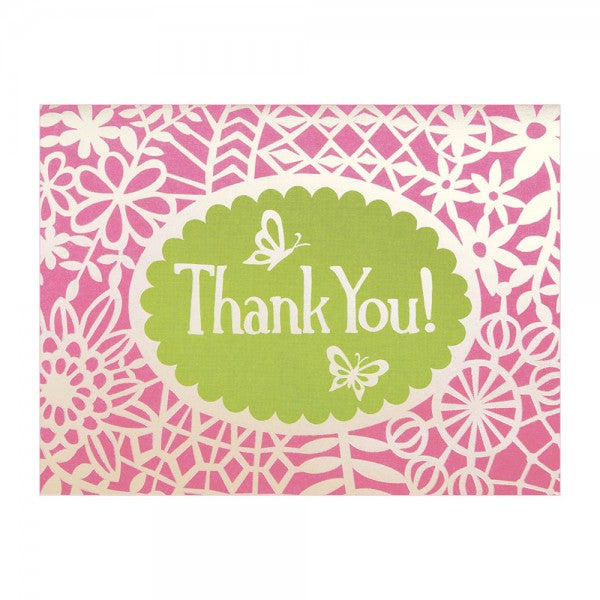 Kaartenset - Flower Lace Glitz Thank You notes - set van 10