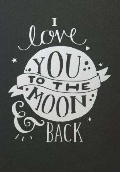 Wenskaart - Steph Baxter - I love you to the moon and back