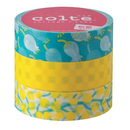 Masking tape 15mm - Lilly of the Valley Yellow - set van 3