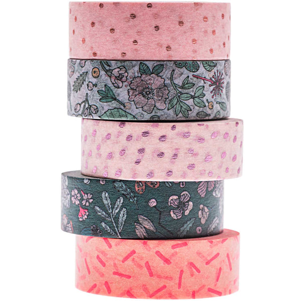 Masking tape 15 mm - hygge flowers - set van 5