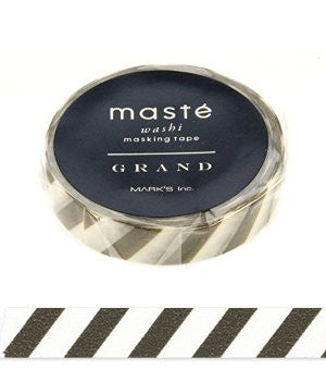 Masking tape 10mm - Masté Grand - Stripes brown