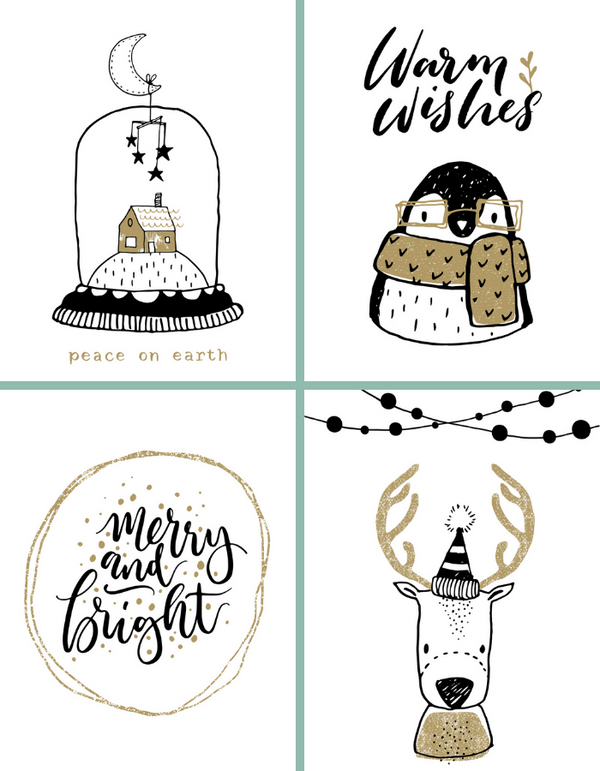 Set van 4 postkaarten - Merry and bright