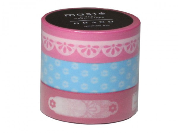 Masking tape 15mm - Photo deco Fuchsia - set van 3