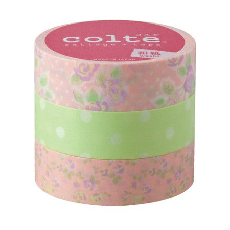 Masking tape 15mm - Rose light green - set van 3
