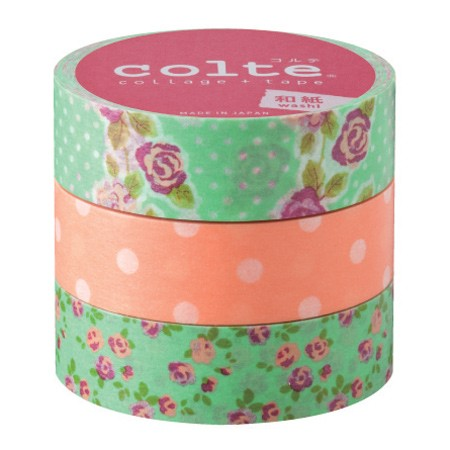 Masking tape 15mm - Rose orange - set van 3